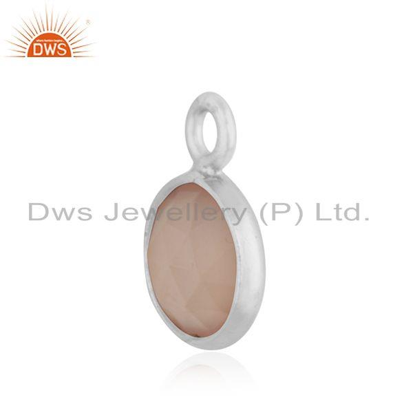 Exporter Rose Chalcedony Gemstone 925 Sterling Silver Charm Findings Manufacturer INdia