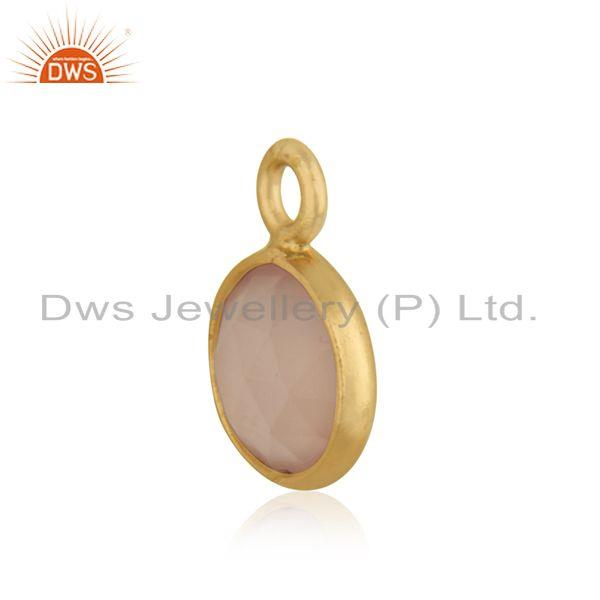 Exporter Rose Chalcedony Gemstone 925 Silver Gold Plated Charm Pendant Manufacturer