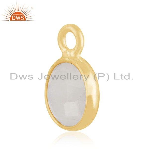Exporter Rainbow Moonstone 925 Silver GOld Plated Findings Charm Manufacturer INdia