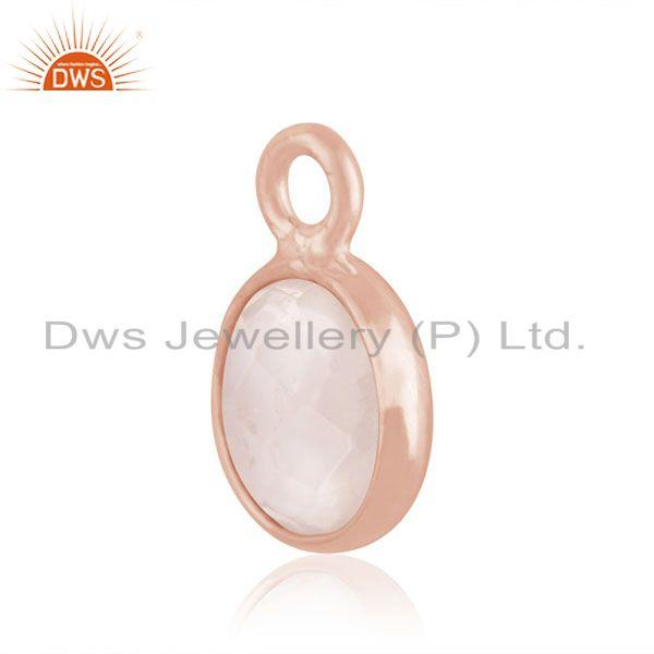 Exporter Rose Gold Plated 925 Silver Rose Quartz Gemstone Charm Findings Manufacturer