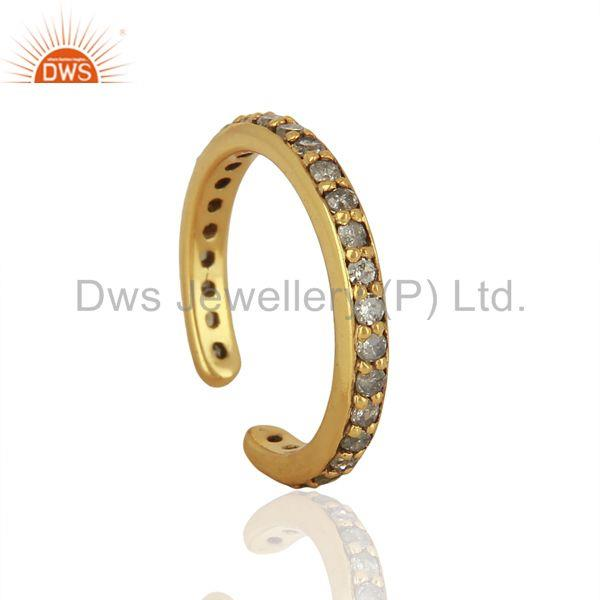 Exporter Gold Plated Pave Diamond 925 Silver Ring Finding Jewelry Supplier