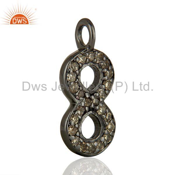 Exporter Supplier Pave Set Diamond 925 Sterling Silver Pendant Jewelry Findings