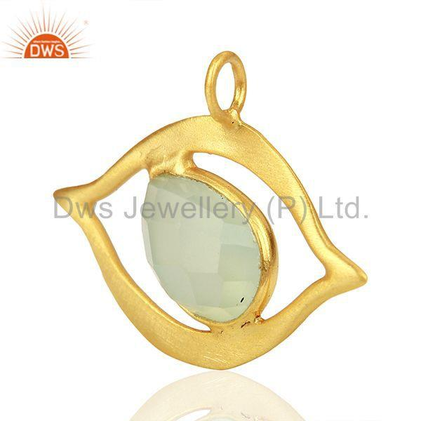 Exporter Gold Plated 925 Silver Chalcedony Gemstone Charm Jewelry Findings