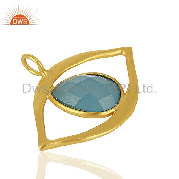 Exporter Blue Chalcedony Gemstone Gold Plated Silver Evil Eye Pendnat Finding