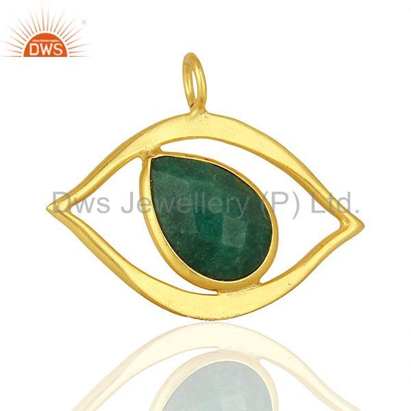 Exporter Emerald Gemstone Gold Plated 925 Silver Pendant Jewelry Manufacturer