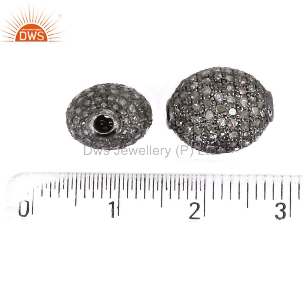 Exporter 12x10 MM 925 Sterling Silver Diamond Pave Spacer Bead Vintage Finding Jewelry