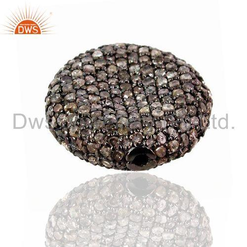 Exporter 925 Sterling Silver Diamond Pave Spacer Finding Vintage Style 22x5 mm Jewelry
