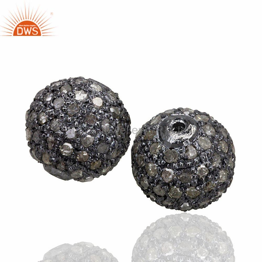Exporter 8mm Pave Diamond Disco Bead Sterling Silver Spacer Ball Finding Designer Jewelry