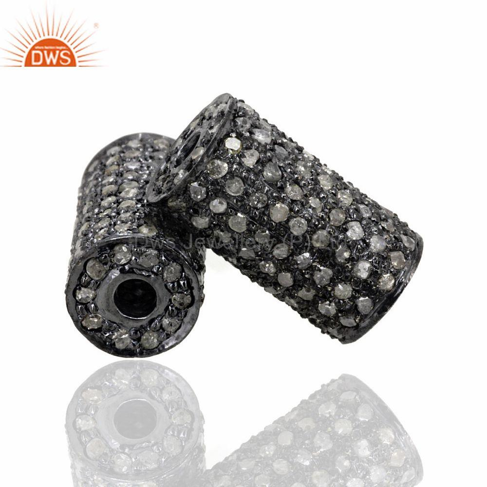 Exporter 925 Sterling Silver 1.3 Ct Diamond Pave Spacer Finding Handmade Jewelry 13x7 mm