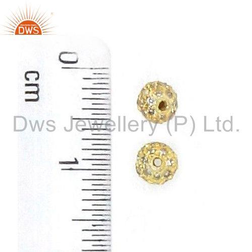 Exporter 14K Gold Plated Pave Diamond  Bead Spacer Ball Finding Vintage Jewelry 4 MM