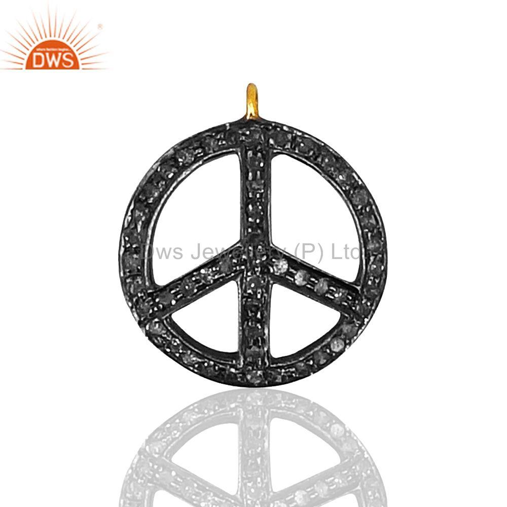 Exporter Peace Sign Pave Diamond Charm Pendant 925 Sterling Silver Jewelry