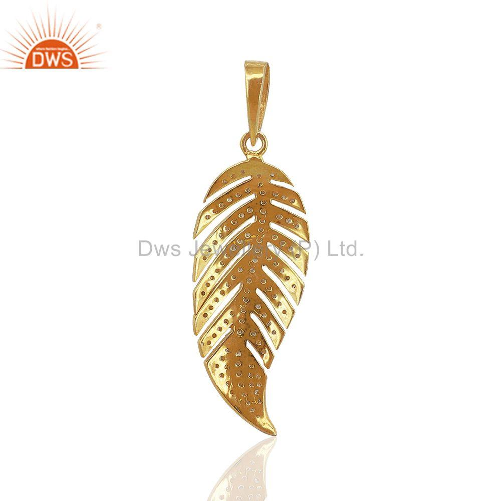 Exporter Handmade Pave Diamond  Leaf Texture Pendant 925 Sterling Silver Vintage Jewelry