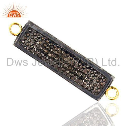 Exporter Pave Diamond 14K Gold Plated Rectangle Connector Finding 925 Silver Jewelry