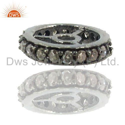 Exporter 10mm New Rondelle Spacer Finding Pave Diamond 925 Silver Handmade Jewelry