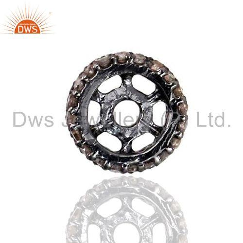 Exporter 9mm Spacer 925 Silver Rondelles 0.43ct Pave Diamond Component Finding Jewelry