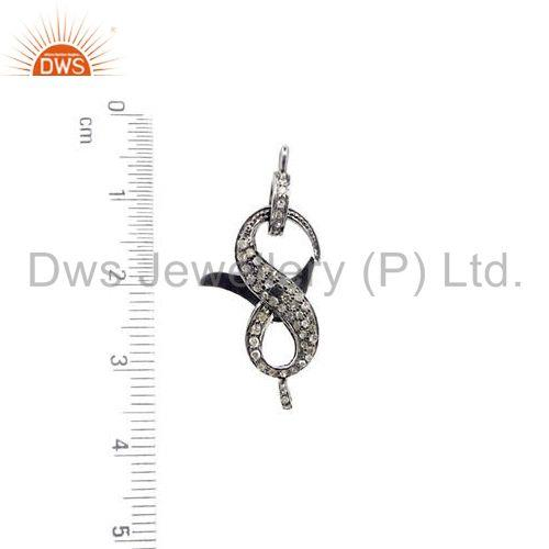 Exporter Designer Diamond Lobster Clasp 925 Silver Finding Vintage Style Jewelry 31X11mm