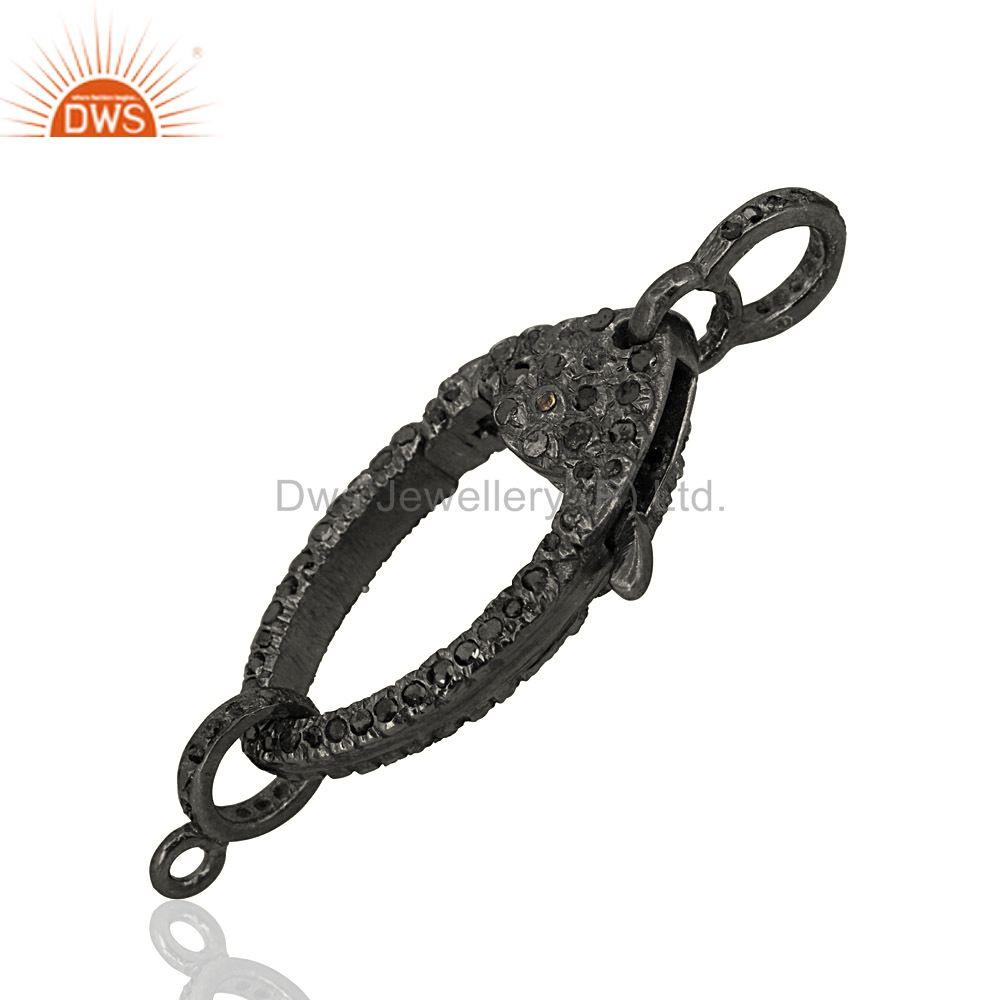 Exporter New Black Diamond Studded Lobster Clasp Pendant Finding Sterling Silver Jewelry