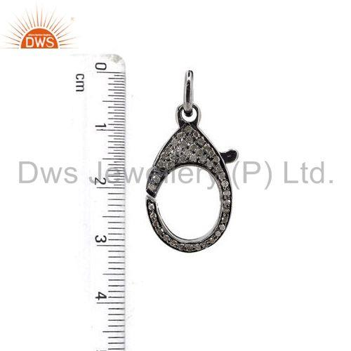 Exporter 31x15 mm Pave Diamond Lobster Clasp 925 Sterling Silver Finding Handmade Jewelry
