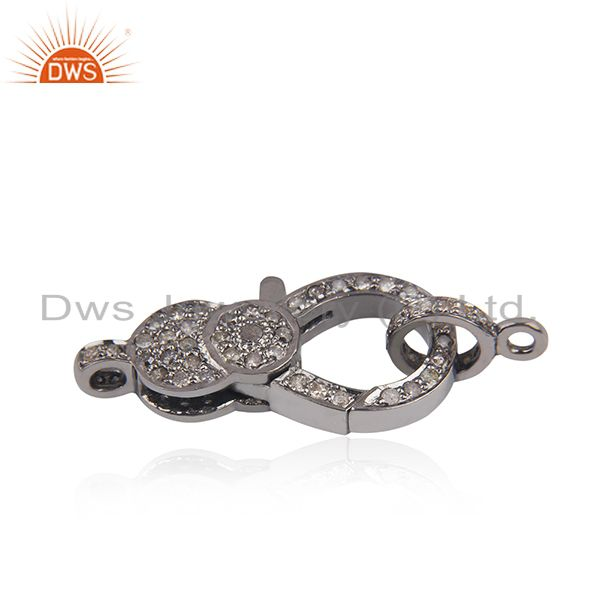 Exporter 27x13mm 925 Silver Pave Diamond Lobster Clasp & Spring Lock Finding Gift Jewelry