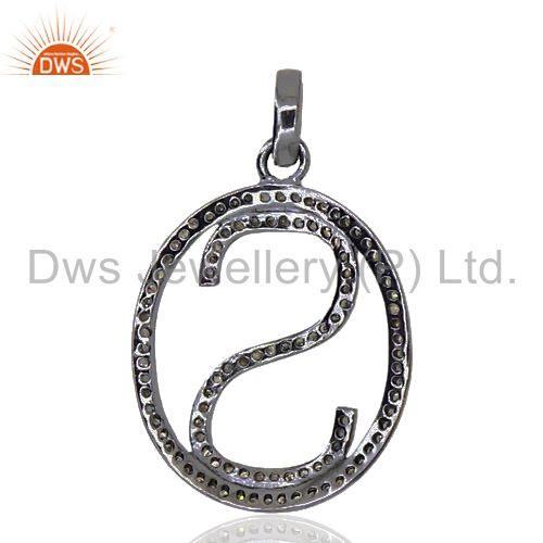 Exporter Pave Diamond 925 Sterling Silver Alphabet Letter S Initial Pendant Jewelry