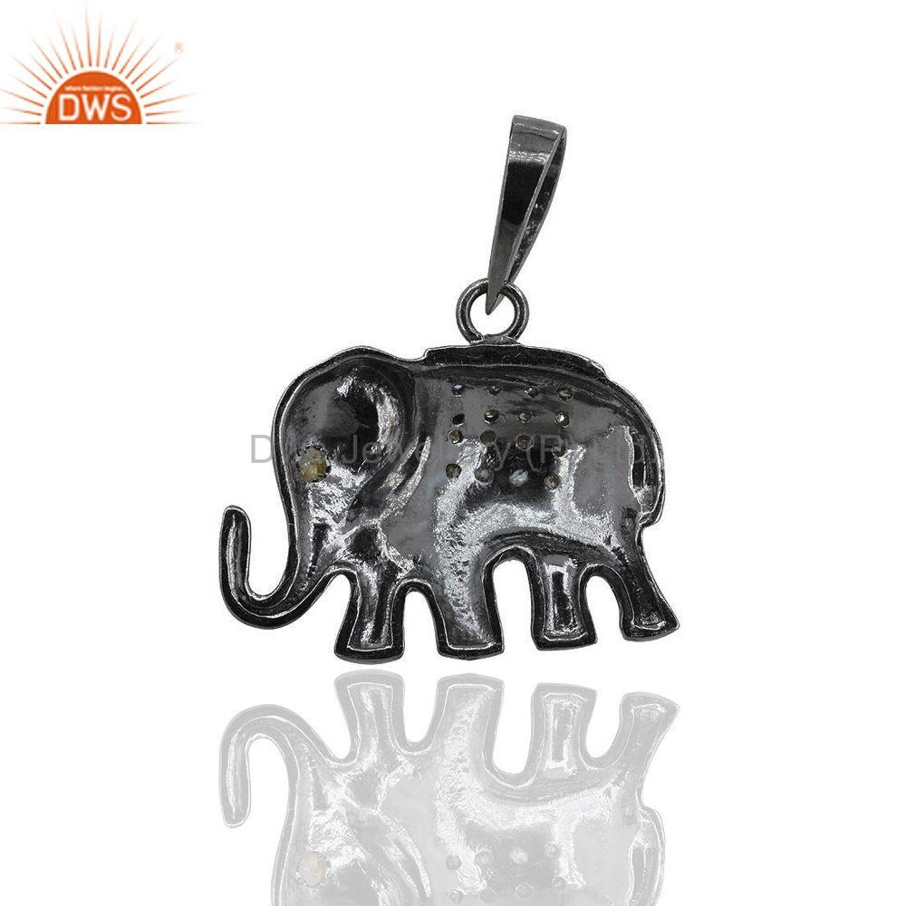 Exporter Pave Diamond 925 Sterling Silver Elephant Charm Pendant Jewelry Gift For Women
