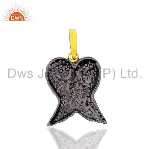Exporter Pave Diamond Angle Wing Fashion Pendant 925 Silver 14k Gold Plated Jewelry