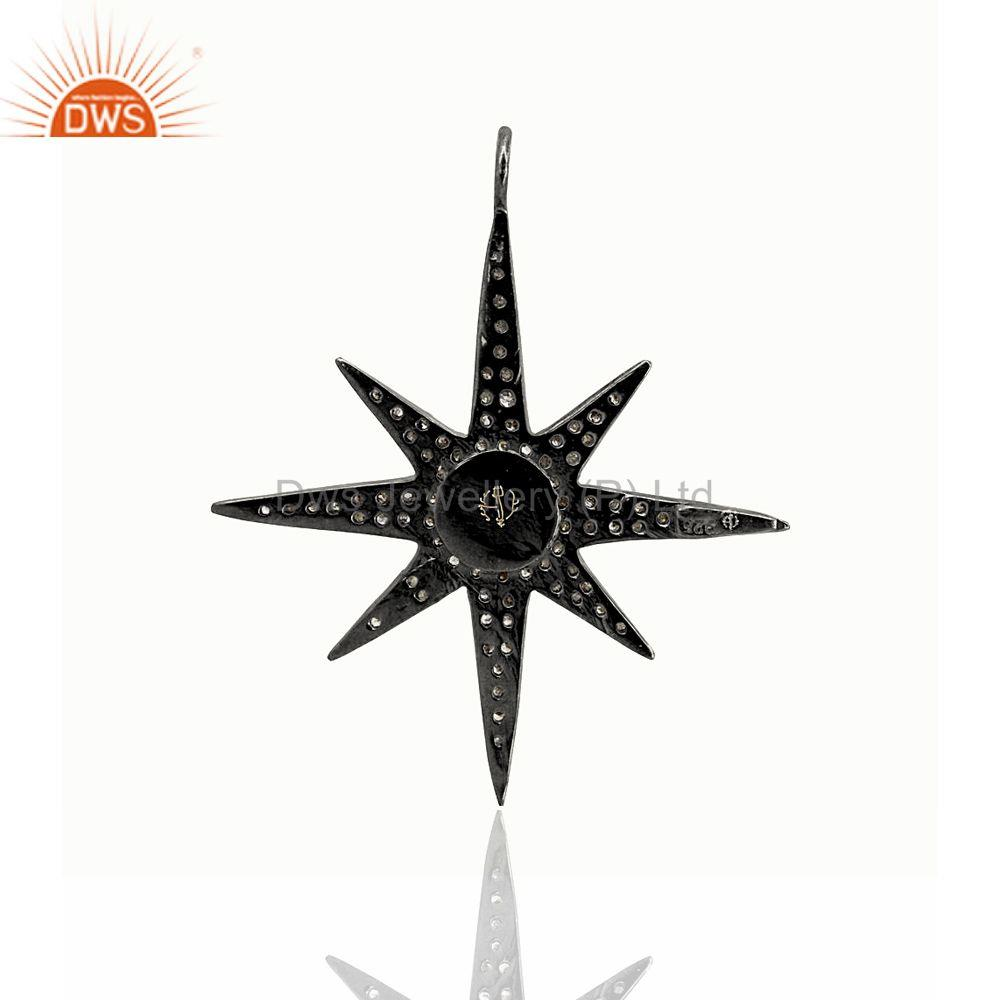 Exporter Natural Diamond Pave STAR BURST Pendant .925 Sterling Silver Women Fine Jewelry
