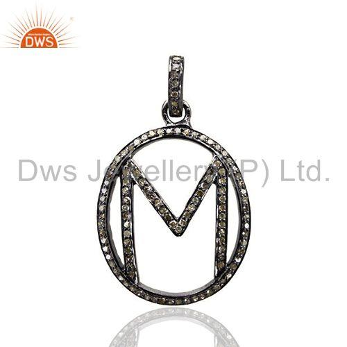 Exporter Pave Diamond Initial Letter M Alphabet Pendant 925 Sterling Silver Jewelry