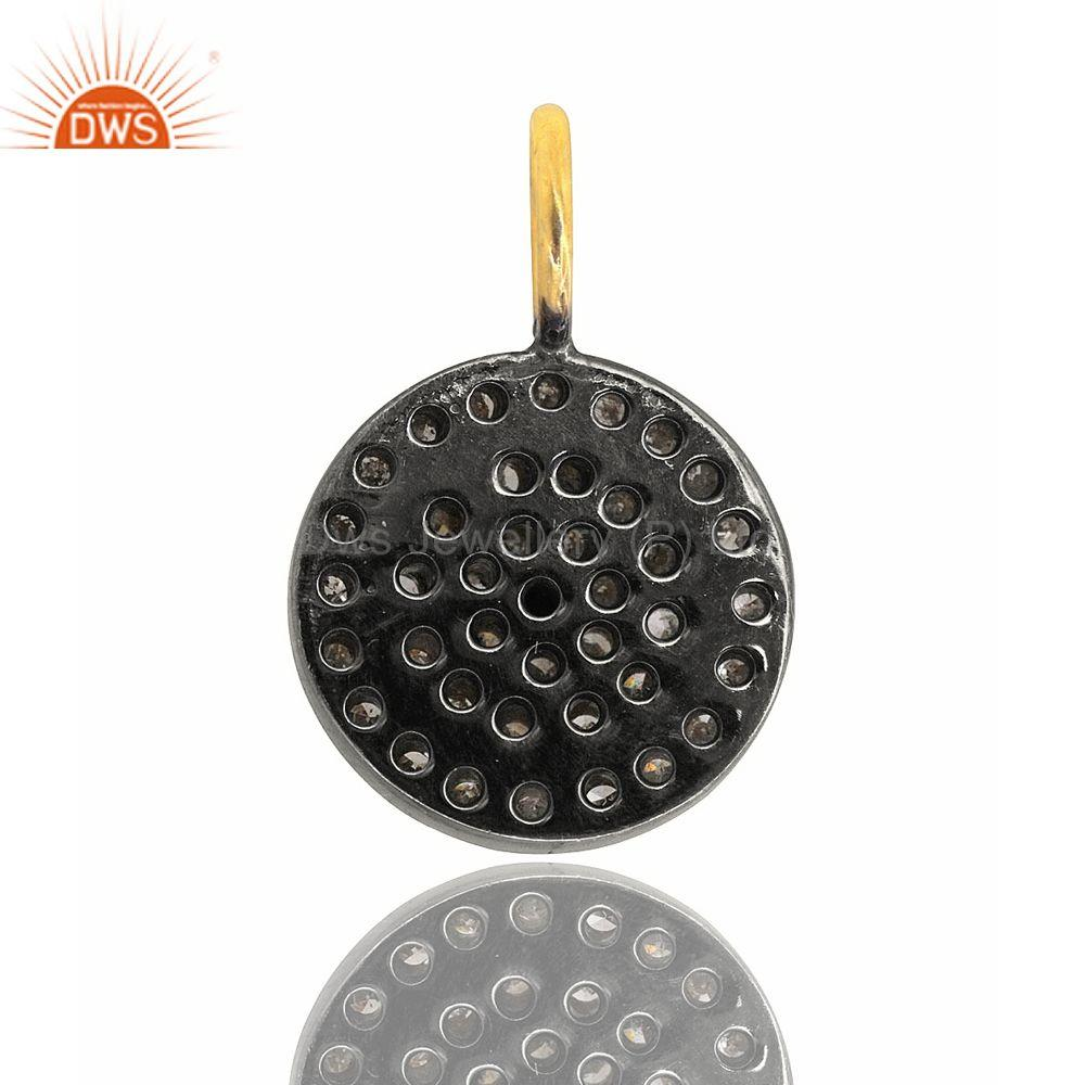 Exporter Pave Natural Diamond CIRCLE Charm Pendant  925 Sterling Silver Handmade Jewelry