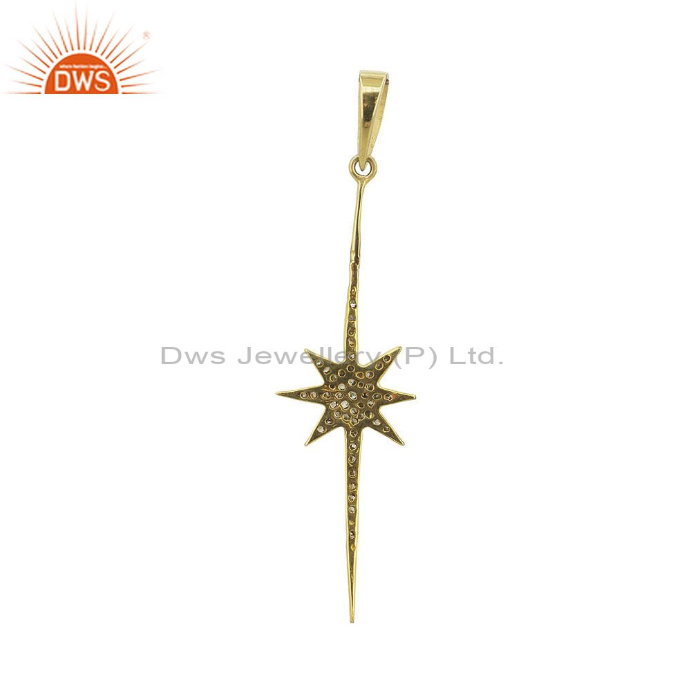 Exporter Pave Diamond Starburst Long Pendant Estate 925 Sterling Silver Jewellery