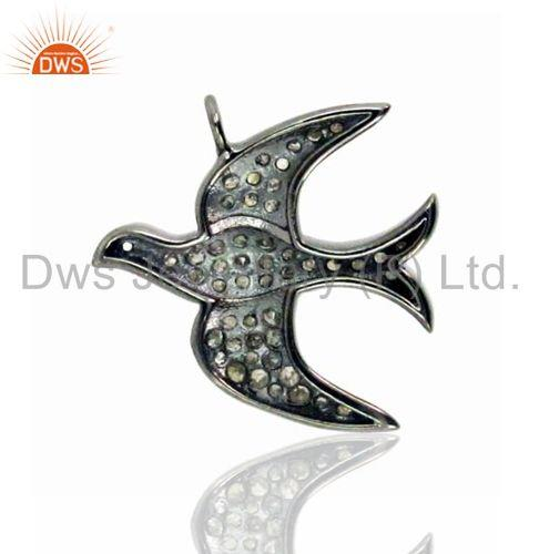 Exporter Pave Diamond Flying Bird Charm Pendant 925 Sterling Silver Jewelry