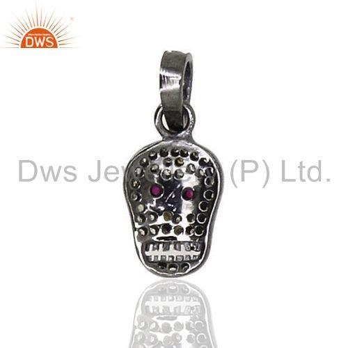Exporter Ruby Gemstone Skull Sterling Silver Charm Pendant Diamond Pave Vintage Jewelry