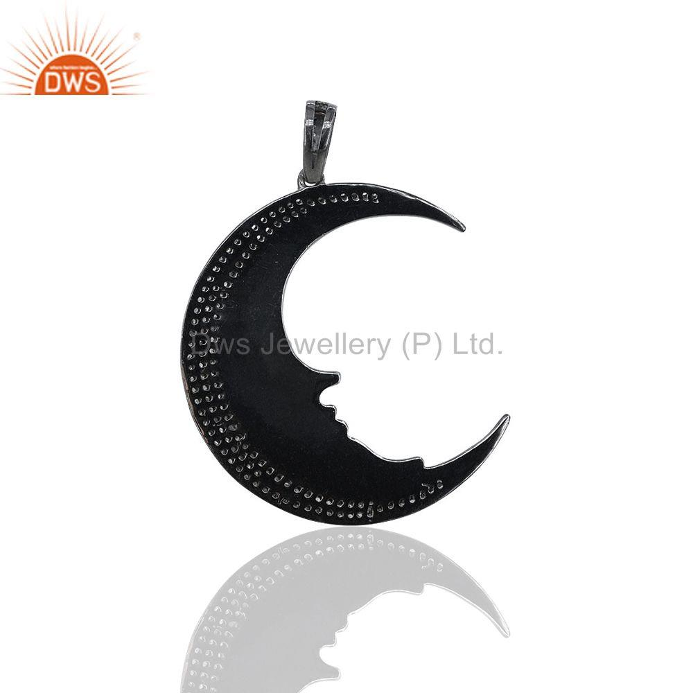 Exporter 1.07Ct Pave Diamond Crescent Half Moon Charm Pendant 925 Silver Jewelry 48x35 mm