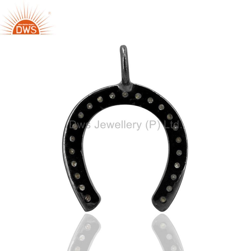 Exporter HORSE SHOE Charm Pave Diamond Pendant 925 Sterling Silver Handmade Fine Jewelry