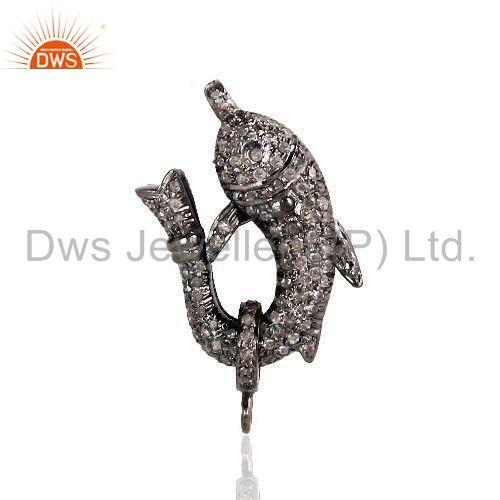 Exporter 925 Sterling Silver DOLPHIN Lobster Clasp Lock Pendant Pave Diamond Jewelry
