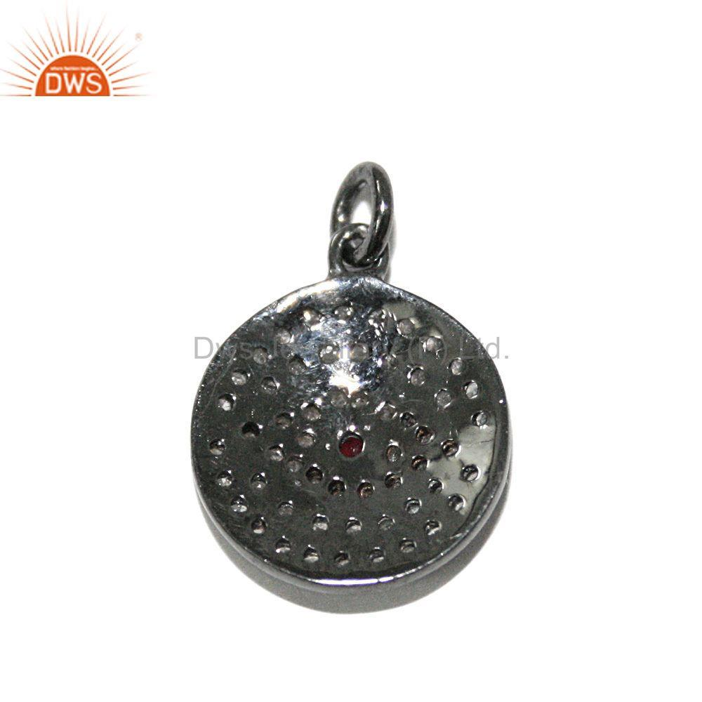Exporter Evil Eye Charm Pendant Real Diamond Pave Blue Sapphire Gemstone Silver Jewelry