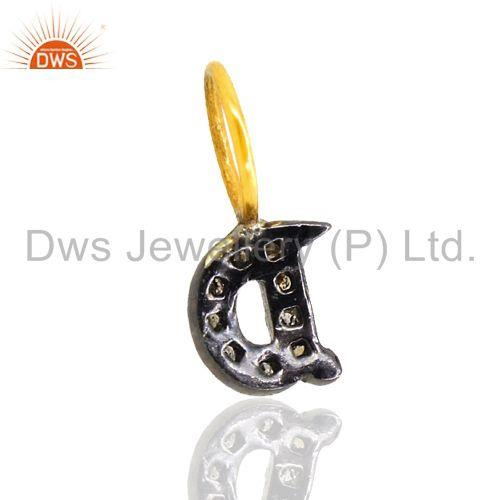Exporter Pave Diamond 92.5 Silver 14k Gold Plated Initial D Letter Charm Pendant Jewelry