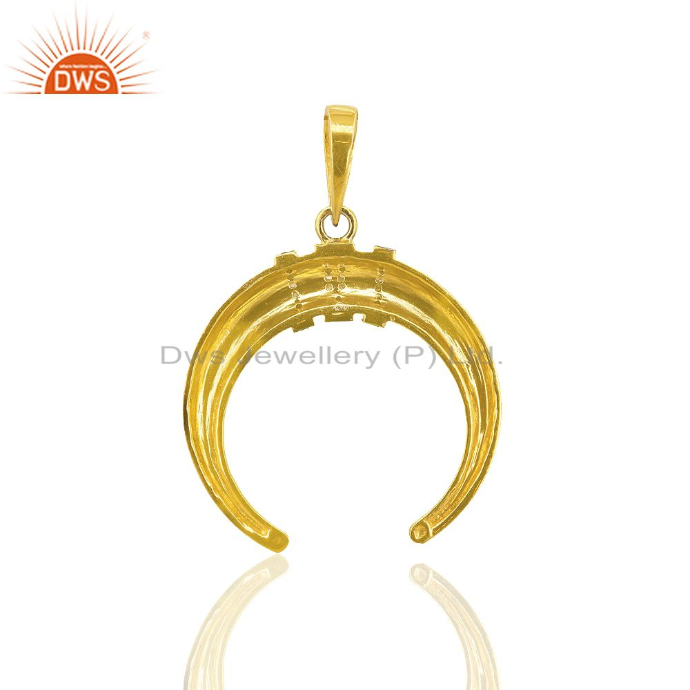 Exporter Pave Diamond 92.5 Sterling Silver Horseshoe Pendant 14K Gold Plated Gift Jewelry