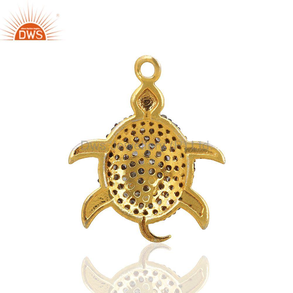 Exporter Pave Diamond Turtle Charm Pendant 92.5 Sterling Silver 14k Gold Plated Jewelry