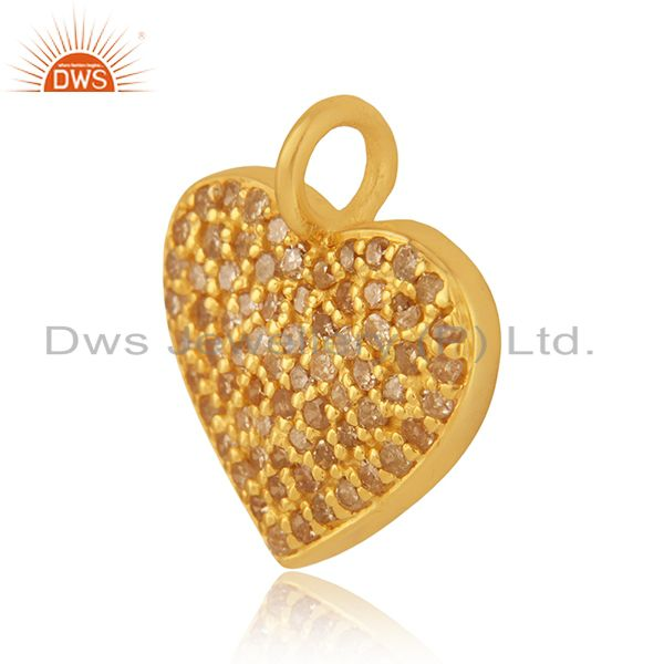 Exporter Pave Diamond Heart Charm Pendant 92.5 Sterling Silver 14K Gold Plated Jewelry