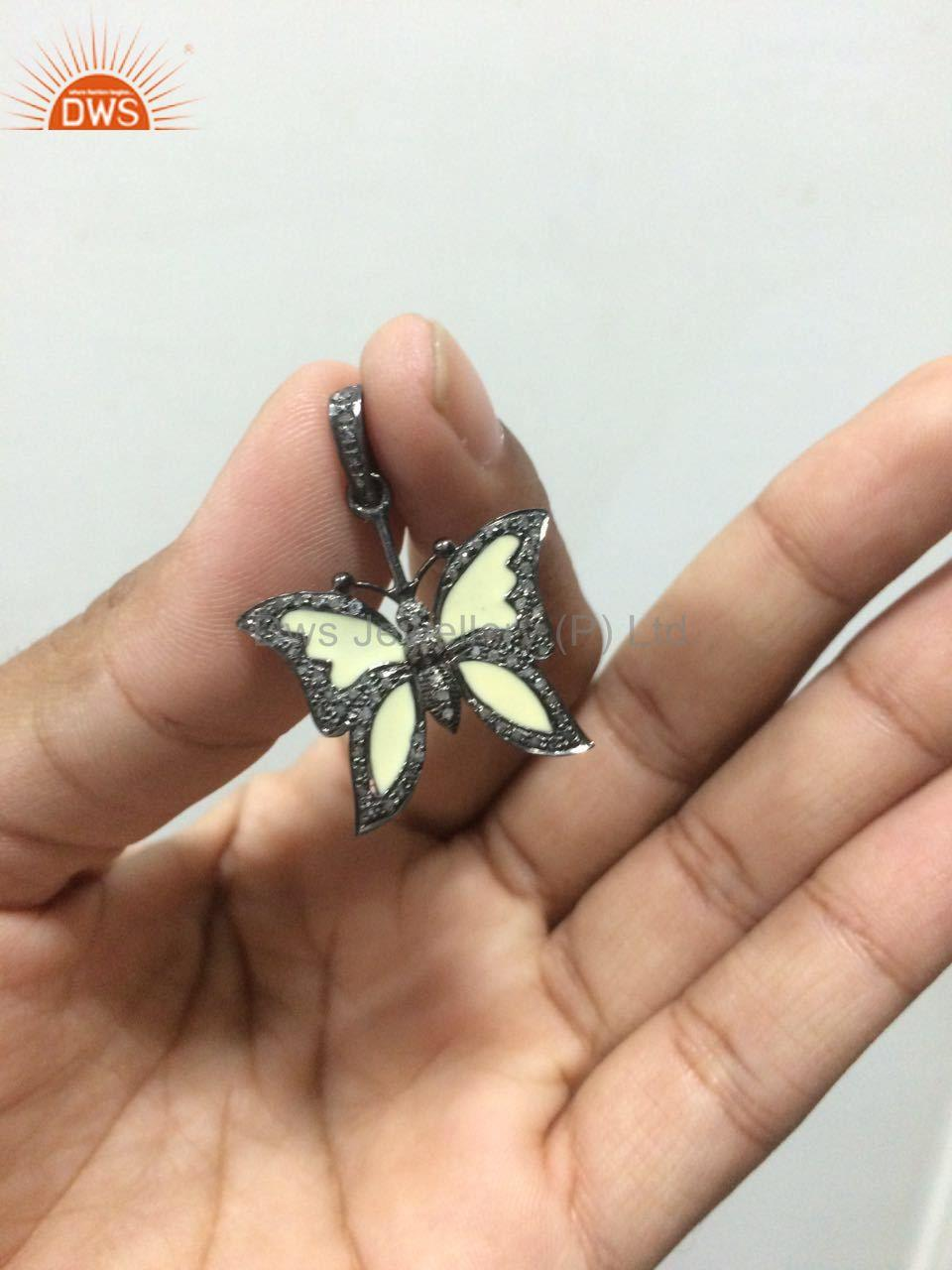 Exporter Pave Diamond Enamel Butterfly Charm Pendant 92.5 Sterling Silver Jewelry