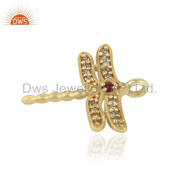 Exporter Diamond and Ruby Birthstone Butterfly Charm Gold Silver Charm Findings Supplier