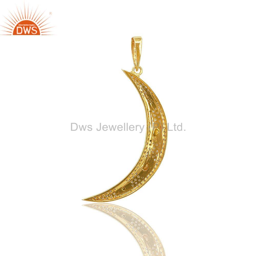 Exporter Pave Diamond Vintage 92.5 Sterling Silver Crescent Moon Charm Pendant Jewelry