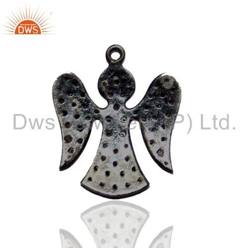 Exporter Pave Diamond ANGEL Charm Pendant Finding Vintage Style Sterling Silver Jewelry