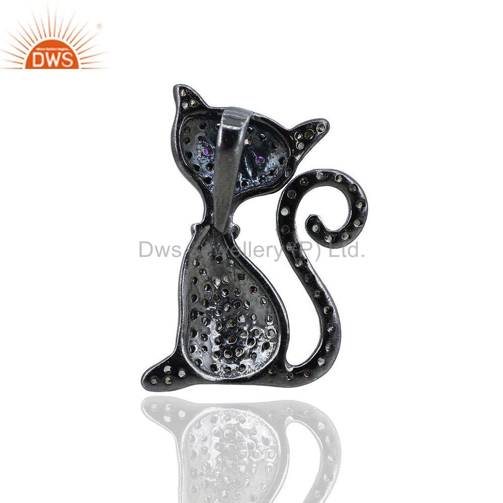 Exporter Natural Diamond Cat Pendant Ruby Gemstone Charm 925 Sterling Silver Pave Jewelry
