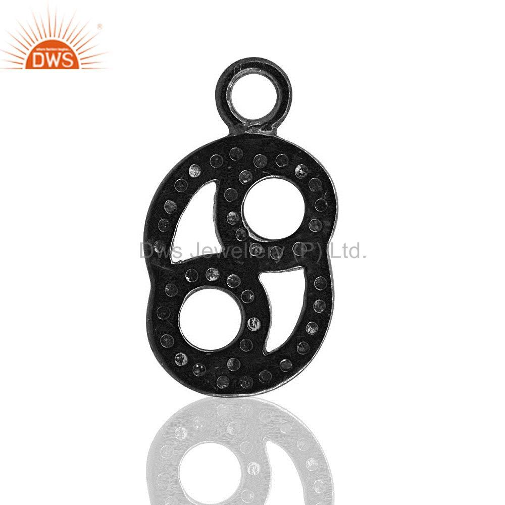 Exporter Pave Diamond Charms Pendant 925 Sterling Silver Jewelry