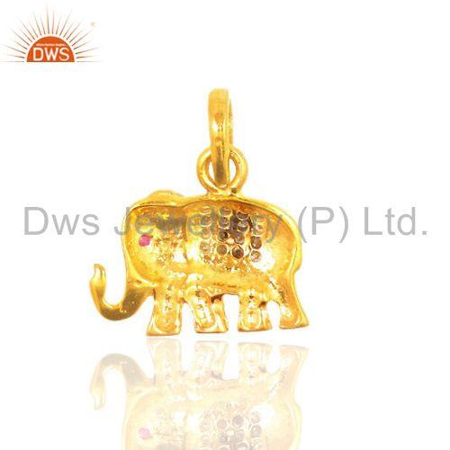 Exporter Ruby Gemstone Pave Diamond Elephant Charm Pendant 925 Sterling Silver Jewelry