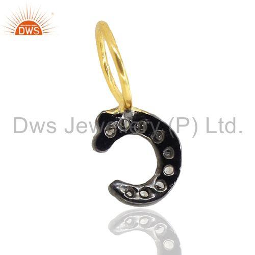 Exporter Micro Pave Diamond Sterling Silver C Initial Charm Pendant Gold Plated Jewelry