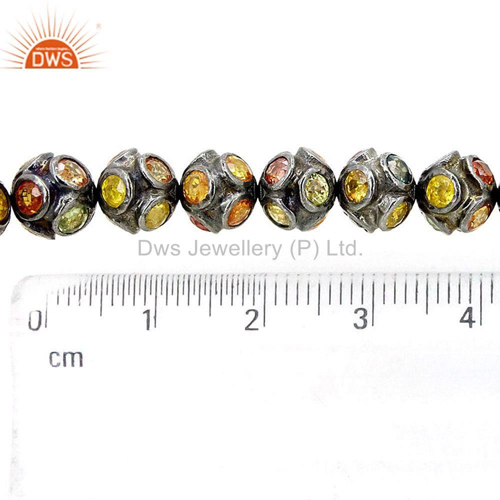 Exporter Multi Sapphire Spacer Bead Disco Ball Finding 92.5 Sterling Silver Jewelry 8 MM