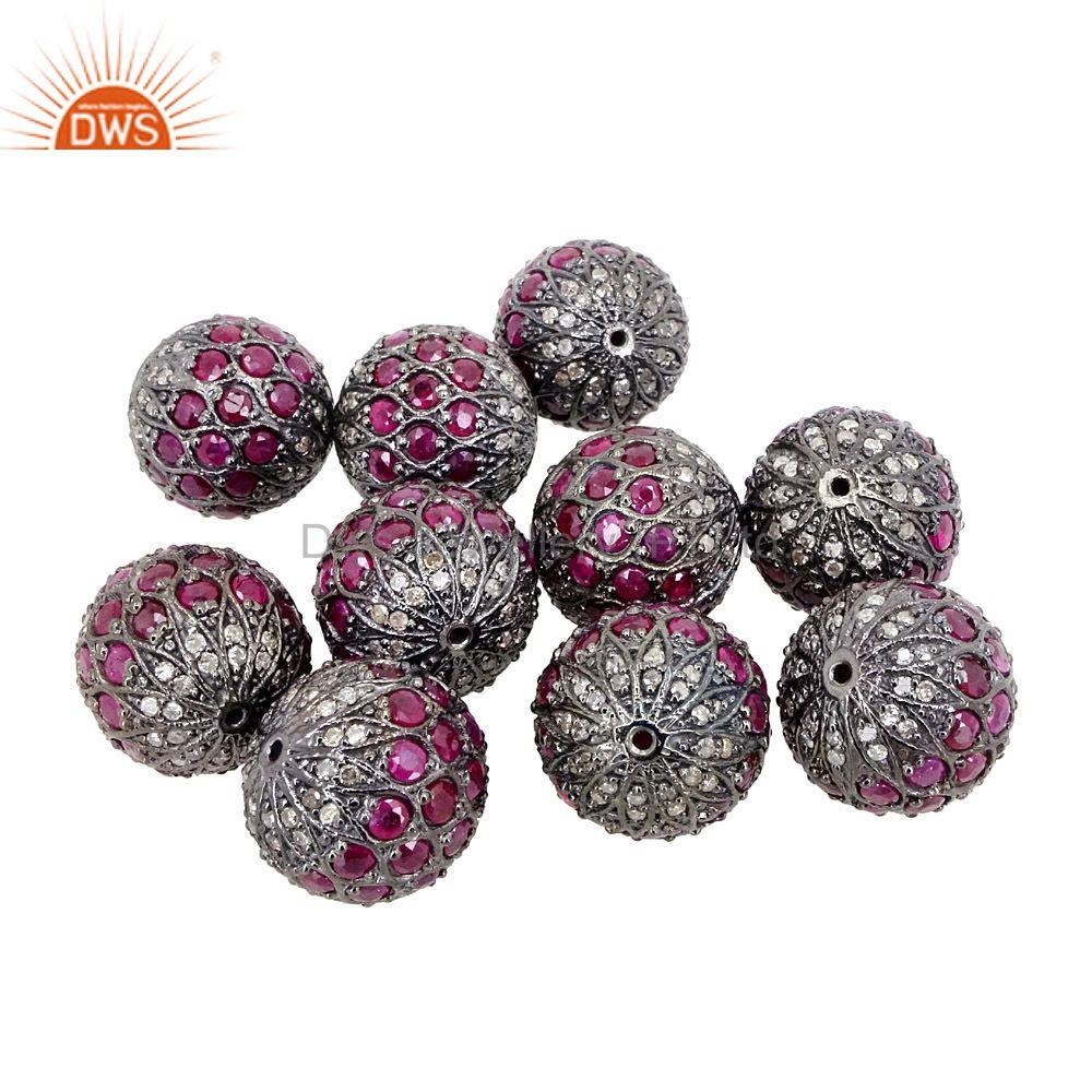 Exporter Ruby Gemstone Bead 925 Sterling Silver Spacer Ball Finding Jewelry 15mm